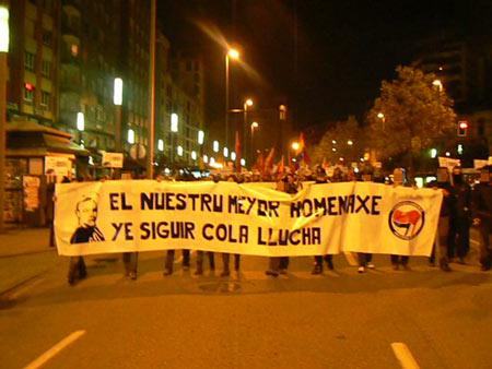 Crónica de la manifestación antifacista de Xixón, 17 Payares