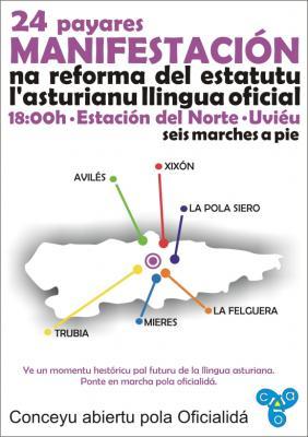 Miles d'asturianos enllenaron el centru d'Uviéu na manifestación pola oficialidá