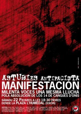 Manifestación antifascista en Xixón: ¡Absolución pa los 14 de Cangues!