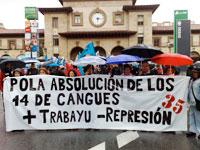 Manifestación pola absolución de los 14 de Cangues